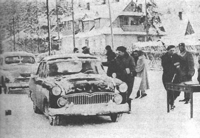 ROK 1959 FOTO.22 V OGÓLNOPOLSKI ZIMOWY RAJD SAMOCHODOWY