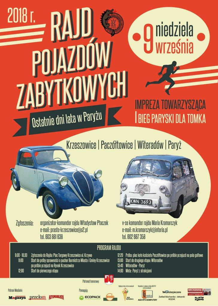 rajd samochodów 2018 plakat A3