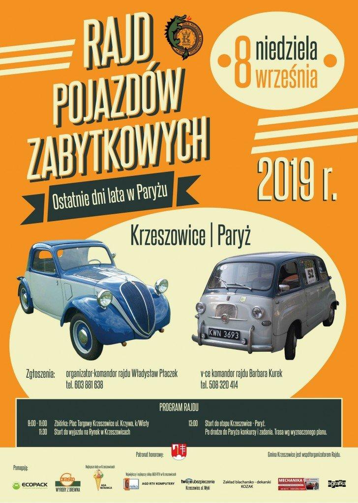 rajd samochodów 2019 plakat A3